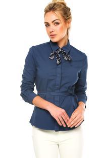 Camisa Manga Longa Carmim Faixas Decorativas Azul-Marinho