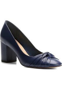 Scarpin Couro Shoestock Salto Médio Drapeado