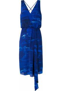 Andrea Marques Vestido Drapeado Estampado - Azul