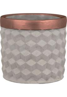 Cachepot Ello Cerâmica Cinza C/ Cobre