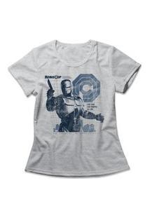 Camiseta Feminina Policial Do Futuro Cinza