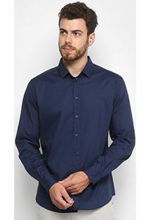 Camisa Colcci Slim Elastano Masculina - Masculino-Marinho