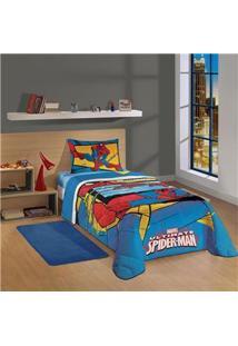 Edredom Solteiro Infantojuvenil Lepper Spider-Man Ultimate Em Algodão E Poliéster Com 1 Peça - Azul