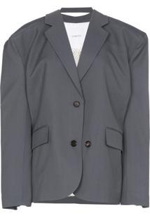 Pushbutton Blazer De Lã Mista - Cinza