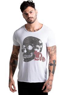 Camiseta Estonada Corte À Fio Joss Flores Da Lua - Branco