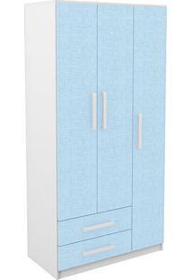 Guarda-Roupa / Roupeiro 3 Portas Infantil Com 2 Gavetas Branco/Azul - Rodial