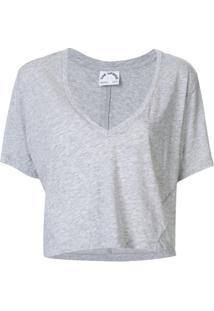 The Upside Blusa Cropped Decote Em V - Cinza