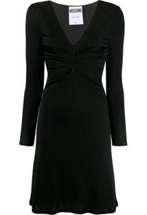 Moschino Vestido Com Drapeado Na Cintura - Preto