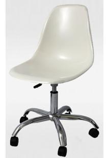 Cadeira Eames Com Rodizio Policarbonato Branco Off White -19296 - Sun House