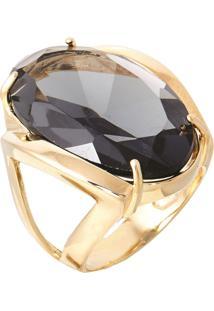 Anel Pedra Cristal Zircônia Fumê Translúcido Lapidado Banhado A Ouro 18K - Kanui