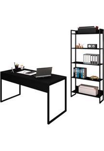 Conjunto Escritório Mesa 150 E Estante Studio Industrial M18 Preto - M