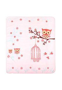 Cobertor Bebê Microfibra Rosa Coruja (90X110Cm) - Baby Joy - Tamanho Único - Rosa