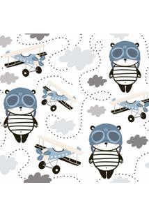 Papel De Parede Panda Aviões Para Quarto De Menino 57X270Cm - Tricae