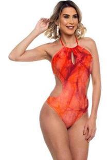 Maiô Maré Brasil Engana Mamãe Tie Dye Feminino - Feminino-Vermelho