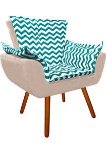 Poltrona Decorativa Opala Suede Composê Estampado Zig Zag Verde Tiffany D78 E Suede Bege - D'Rossi