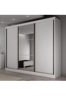 Guarda Roupa Casal Com Espelho 3 Portas De Correr 6 Gavetas Soberano Siena Móveis Branco