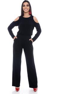 1b037e752 ... Macacão Pantalona B Bonnie Ombro Vazado Manga Longa Clara Preto