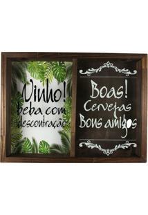 Quadro Art Frame Duplo Porta Rolhas Vinhos E Tampinha Cerveja Rustico Ref 763