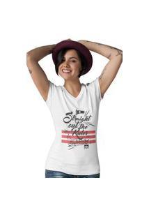 Camiseta Feminina Gola V Ezok Caution Sk8R Branco