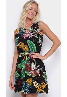 Vestido Pérola Evasê Curto Tropical Babados Laterais - Feminino-Branco+Verde