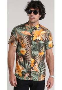 Camisa Estampada Floral Tropical Marrom