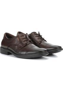 Sapato Social Pegada Cadarço Masculino - Masculino-Marrom Escuro