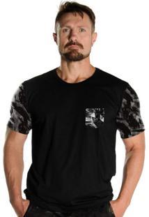 Camiseta Black Flag Com Bolso Militar