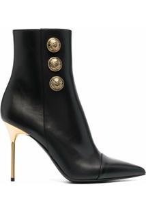 Balmain Ankle Boot Com Detalhe De Botões - Preto