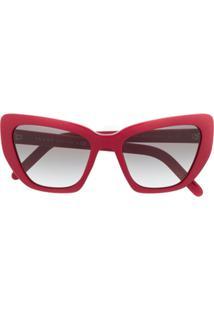Prada Eyewear Óculos De Sol Gatinho Oversized - Vermelho