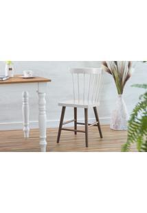 Cadeira Para Restaurante De Madeira Folk Verniz Capuccino E Branco 45X46X83Cm