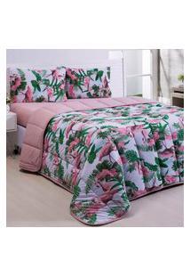 Kit Coordenado Edredom Basic Flamingo Rosê C/ Lençol Solteiro Dupla Face 03 Peças - Malha 100% Algodáo