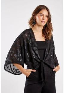 Kimono Bordado Paetê Sacada - Feminino-Preto
