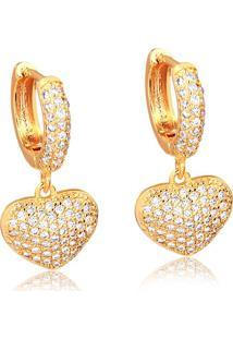 Brinco Argola Com Pingente De Coração Cravejado De Zircônias Folheado Em Ouro 18K - 2180000000047