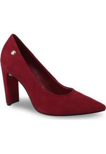 Sapato Scarpin Bottero 317801 Couro Salto Grosso Feminino - Feminino-Vermelho