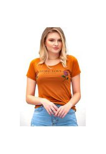Camiseta Miss Glamour Store More Love Please Suede