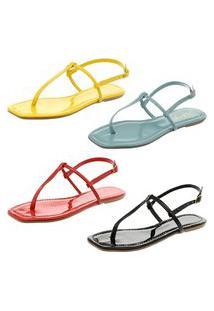 Kit Com 4 Pares De Sandálias Flat Heloize Calçados Preto, Azul Bebê, Vermelho E Amarelo