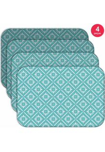 Jogo Americano Love Decor Wevans Blue Geometric Kit Com 4 Pçs - Kanui