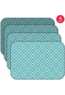 Jogo Americano Love Decor Wevans Blue Geometric Kit Com 4 Pçs