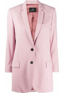 Ps Paul Smith Blazer Com Abotoamento Simples De Lã Virgem - Rosa