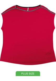 Blusa Plus Size Em Malha De Viscose Vermelho