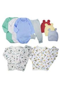 Kit Enxoval Conforto Roupa De Bebe Fofinho 11 Pç Body Pijama Azul