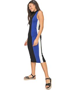 Vestido Oh, Boy! Midi Color Block Preto/Azul