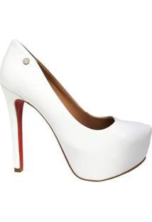 Scarpin Le Bianco Glamour Salto Alto Fino Em Verniz Com Meia Pata Interna Solado - Feminino-Branco