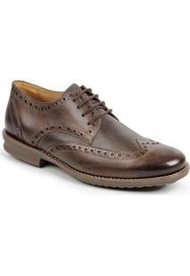 Sapato Casual Couro Oxford Dery Sandro Movers Masculino - Masculino-Café