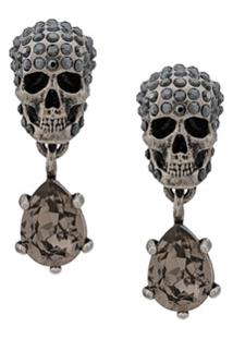 Alexander Mcqueen Skull Embellished Earrings - Prateado