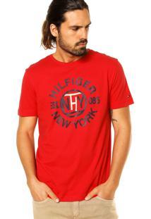 Camiseta Manga Curta Tommy Hilfiger Estampa Vermelha