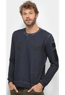 Blusa Replay Recortes Masculina - Masculino-Azul Escuro