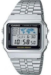 5a860c26058 Relógio Feminino Unissex Inox Vidro Vintage Digital Casio Relogio  Unissex-Prata - A500wa-1d
