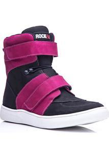 Tênis Masculino Rockfit Van Halen Em Couro Preto E Pink