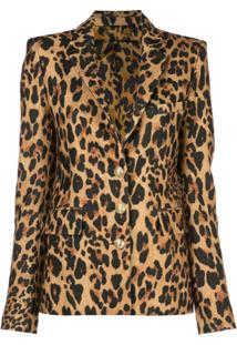 Paco Rabanne Blazer De Leopardo Com Abotoamento Simples - Dourado